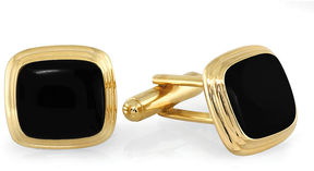 Asstd National Brand Stepped Cushion Black Enamel Cuff Links