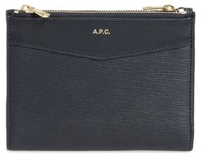 A.P.C. Women's Claudine Calfskin Leather Wallet - Blue