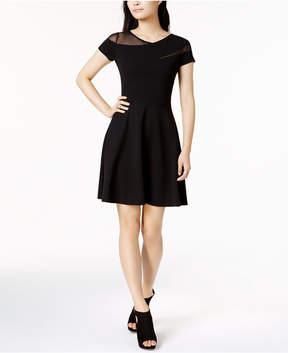 Bar III Mesh-Inset Skater Dress, Created for Macy's