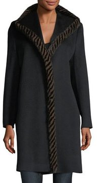 Fleurette Magnetic Wool Coat w/ Spiral Mink Fur