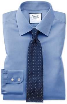Charles Tyrwhitt Classic Fit Non-Iron Royal Panama Blue Cotton Dress Shirt French Cuff Size 15/35