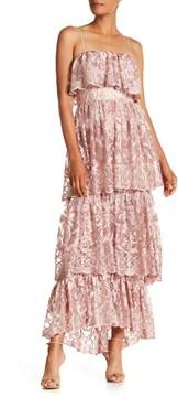 ML Monique Lhuillier Tiered Embroidered Floral Mesh Dress