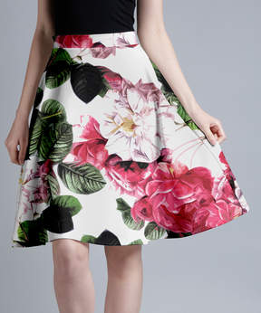 Lily White & Red Floral A-Line Skirt - Women & Plus