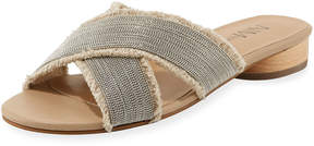 Neiman Marcus Brina Flat Canvas Slide Sandals, Neutral