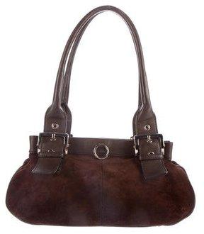 Sergio Rossi Leather-Trimmed Suede Shoulder Bag