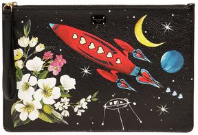 Dolce & Gabbana Medium Space Printed Leather Pouch - BLACK - STYLE
