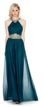 Cachet Gold Colored Embroidered Lace Halter Trim Gown With Same Details On Waist..