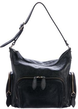 Burberry Pebbled Leather Hobo - BLACK - STYLE