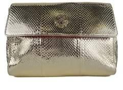 Roberto Cavalli Gold Leather Snake Embossed Tiger Shoulder Bag