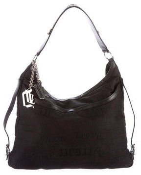 Versace Leather-Trimmed Jacquard Hobo