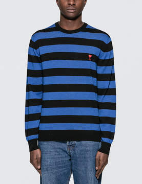 Ami Crewneck Sweater With Rugby Stripes