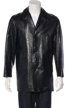 Calvin Klein Collection Leather Notch-Lapel Jacket