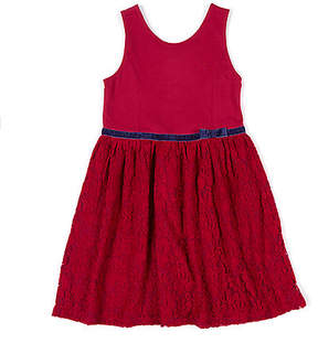 Nautica Toddler Girls' Lace Dress with Velvet Trim (2T-4T)