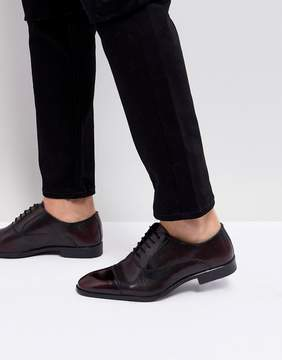 Asos Oxford Shoes In Burgundy Leather With Laser Detail