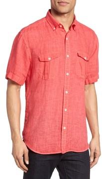Bugatchi Men's Shaped Fit Linen Sport Shirt