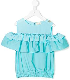 Elisabetta Franchi La Mia Bambina cold shoulders ruffled blouse