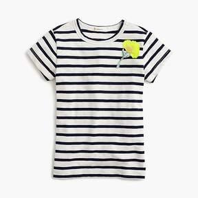 J.Crew Girls' striped embellished sparkle-flower T-shirt