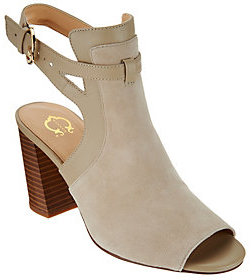 C. Wonder As Is Suede Peep Toe Booties with Buckle Detail