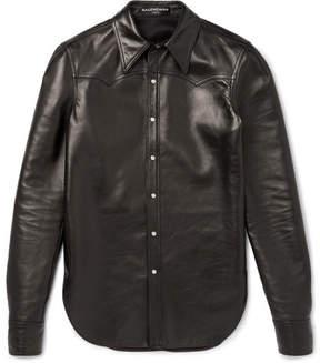 Balenciaga Slim-Fit Leather Western Shirt