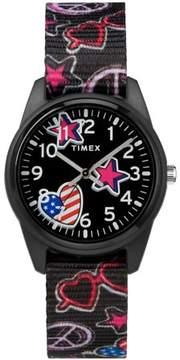 Timex Girls Time Machines Black/Stars & US Flag Watch, Elastic Fabric Strap