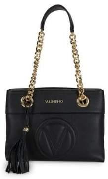 Mario Valentino Embossed Logo Leather Shoulder Bag