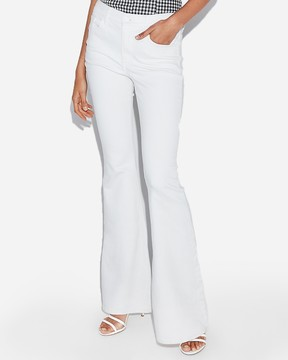 Express High Waisted White Stretch Bell Flare Jeans
