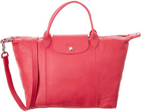 Longchamp Le Pliage Cuir Medium Leather Top Handle - PINK - STYLE