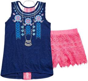 Self Esteem Tank Top Crochet Short Set with Necklace - Girls' 7-16 & Plus