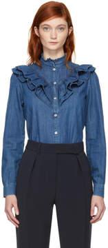 A.P.C. Indigo Denim Suzie Ruffles Shirt