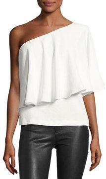 BA&SH Jules One-Shoulder Ruffle Top, Blanc