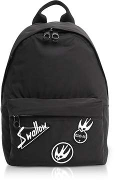 McQ Black Nylon Backpack w/Swallow Patches