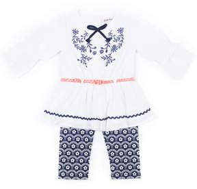 Little Lass Little Girls' 4-6X Floral Belted Gauze Blouse and Capri Legging 2-Piece Set