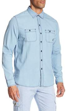 Michael Bastian Washed Topstitched Denim Shirt