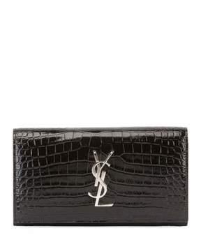 Saint Laurent Monogram Large Croco Flap Wallet - BLACK - STYLE