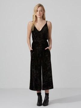 Frank and Oak Wide-Leg Velvet Jumpsuit in True Black