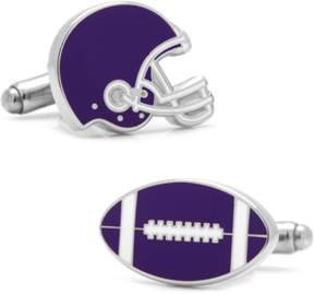 Co Ox and Bull Trading Varisty Football Purple And White Cufflinks.