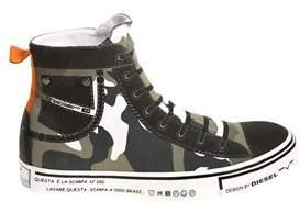 Diesel Men's Green Fabric Hi Top Sneakers.