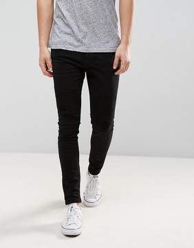 Pull&Bear Super Skinny Biker Jeans In Black