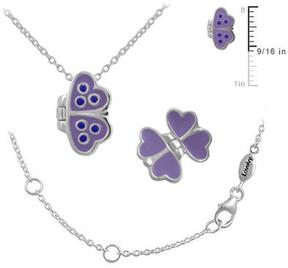 Ice 12-18 Inches Girls' Silver Purple Enameled Butterfly Open Up Necklace