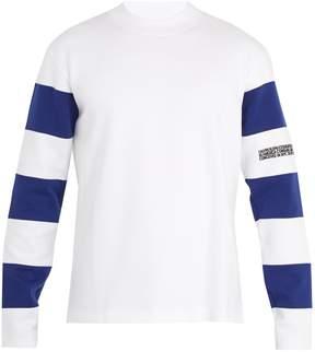 Calvin Klein Bi-colour striped-sleeve cotton-jersey sweatshirt