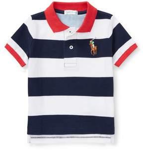 Ralph Lauren   Striped Cotton Mesh Polo Shirt   6-12 months   Newport navy
