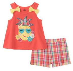 Kids Headquarters Little Girl's Two-Piece Tank Top and Plaid Shorts Set