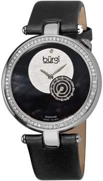 Burgi Diamond-accented Black Strap Ladies Watch