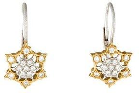 Buccellati 18K Diamond Flower Drop Earrings