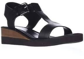 Derek Lam 10 Crosby Forsythe Low Wedge Platform T-strap Sandals, Black.