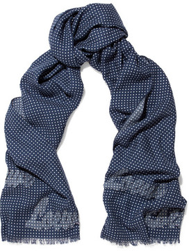 Loewe Appliquéd Polka-dot Wool And Silk-blend Scarf - Blue