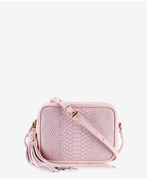 GiGi New York | Madison Crossbody In Petal Pink Embossed Python | Petal pink embossed python