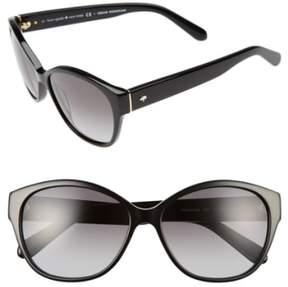 Women's Kate Spade New York 'Kiersten' 56Mm Cat Eye Sunglasses - Black