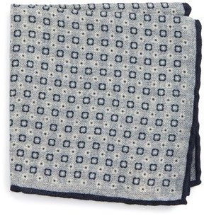Eleventy Men's Geo Floral Print Pocket Square