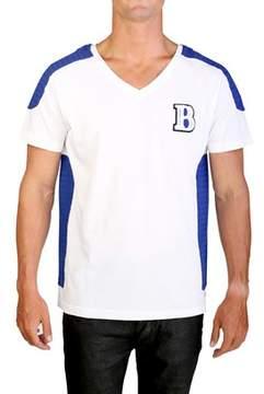 Pierre Balmain Men's Felt Embroidered V-neck T-shirt White.